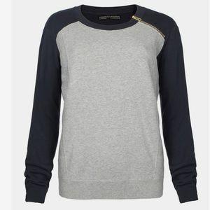 All Saints Color Block Zip Sweatshirt